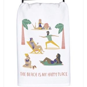 Cotton Dish Tea Towel The Beach Is My Happy Place